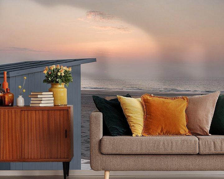 Beispiel fototapete: Strandhaus im letzten Abendlicht in Ostende von Rik Verslype