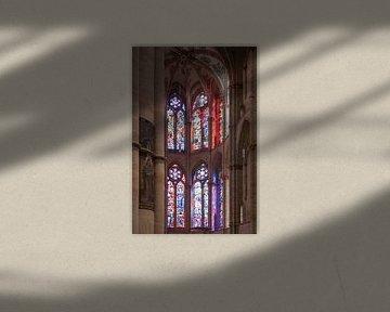 Prachtige glas in lood ramen, Barabara Kirche, Trier (Duitsland) van Martijn Mureau