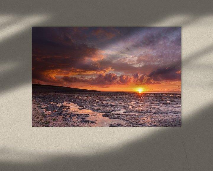 Sfeerimpressie: Rode zonsondergang bij Ternaard van Ron Buist
