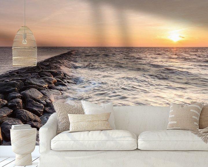 Sfeerimpressie behang: Koude zonsopkomst bij de Bocht van Watum van Ron Buist