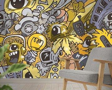 Hip design kunstwerk in doodle stijl met thema zomer van Emiel de Lange