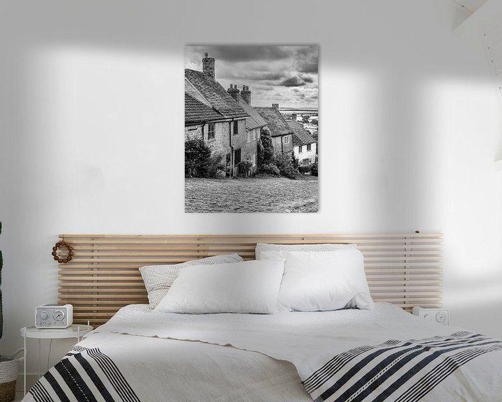Beispiel: Gold Hill in schwarz-weiß, Shaftesbury, Dorset von Henk Meijer Photography