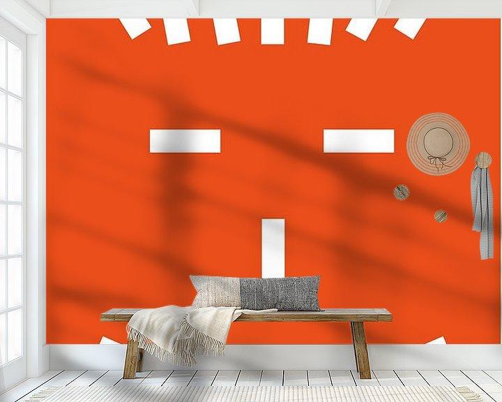 Sfeerimpressie behang: Zeg maar hallo tegen Mr. Stripe van Ellen Voorn