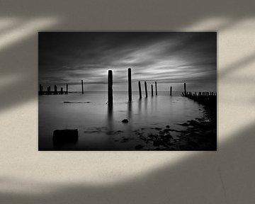 Meerpalen bij avond in de haven van De Cocksdorp, Texel van Hans Kwaspen