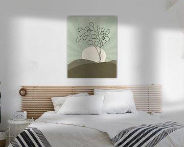 Minimalistische Landschaft mit einem Eukalyptusbaum und Sonnenstrahlen von Tanja Udelhofen
