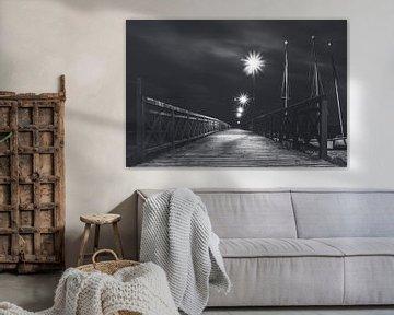 Voetgangersbrug bij het meer van Zarnowitz in Polen op een warme zomeravond in zwart wit van Jakob Baranowski - Off World Jack