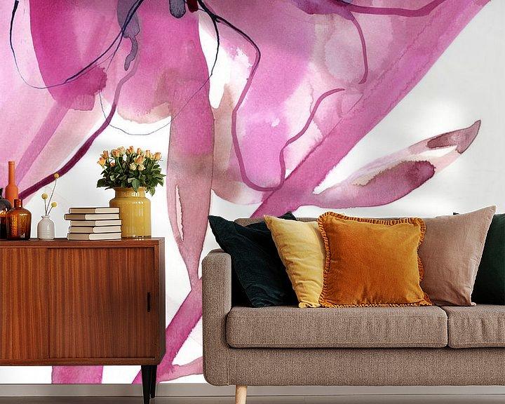 Sfeerimpressie behang: Pink Floral van Brigitte Bazuin