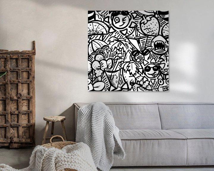 Beispiel: Doodle Kunst - schwarz und weiß Sommer Thema von Emiel de Lange