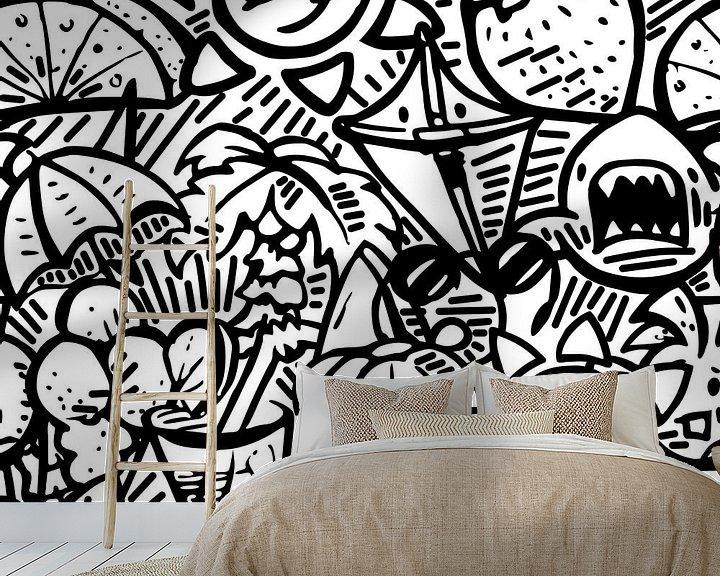 Beispiel fototapete: Doodle Kunst - schwarz und weiß Sommer Thema von Emiel de Lange