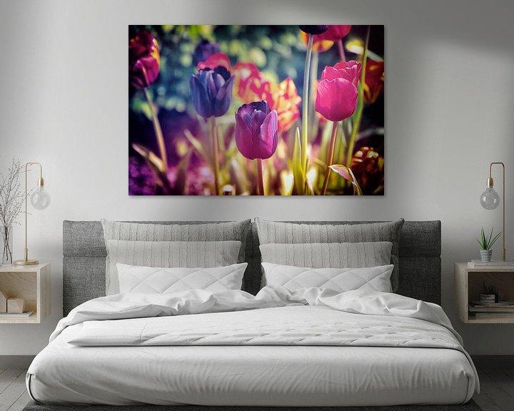 Beispiel: Ein buntes Meer aus Blumen - stimmungsvolles, farbenfrohes Blumenfeld aus Tulpen - Frühlingserwachen von Jakob Baranowski - Off World Jack
