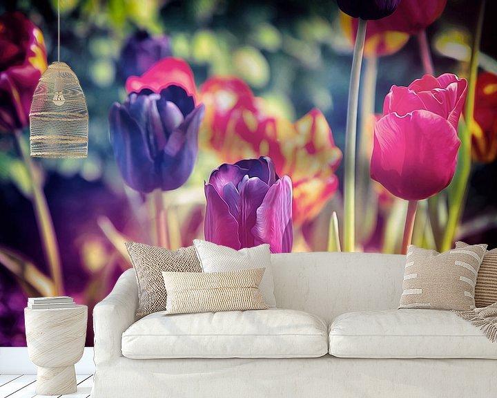 Beispiel fototapete: Ein buntes Meer aus Blumen - stimmungsvolles, farbenfrohes Blumenfeld aus Tulpen - Frühlingserwachen von Jakob Baranowski - Off World Jack