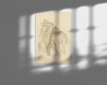 Un homme retient deux chevaux sur Eigenwijze Fotografie