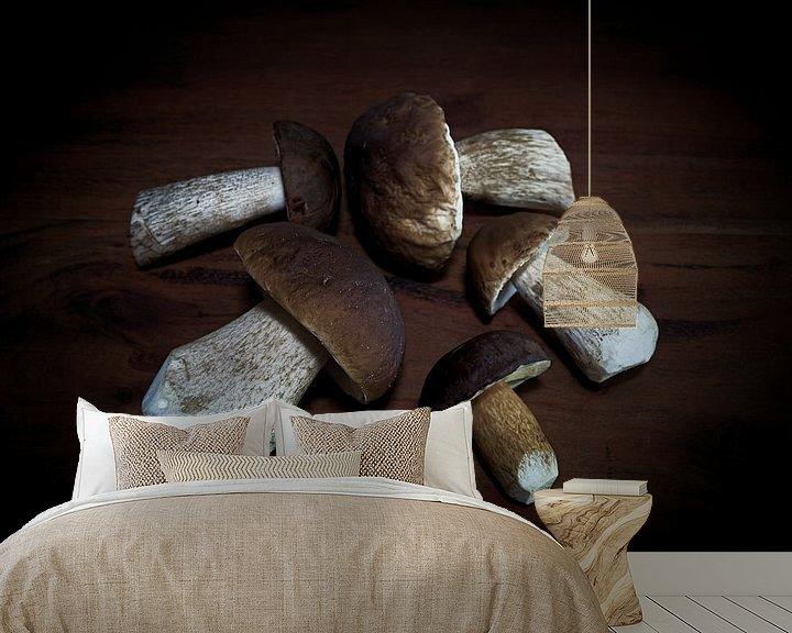 Sfeerimpressie behang: Berkenzwam, kastanjeboleet en eekhoorntjesbrood van Heiko Kueverling