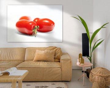 rijpe Roma tomaten met witte achtergrond van Heiko Kueverling