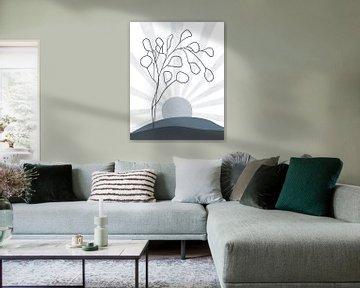 Minimalistische Landschaft im Winter mit einem Eukalyptusbaum und einer Sonne von Tanja Udelhofen