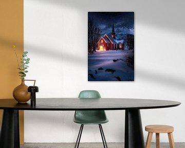 Kerk met sneeuw en sterren in Noorwegen / Lofoten. van Voss Fine Art Fotografie