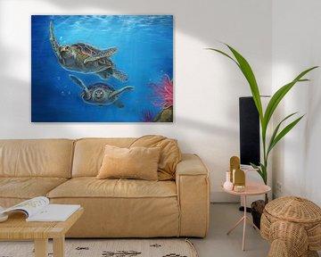 Schildpadden tekening Leontine van Vliet van Leontine van Vliet