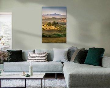 Mooi Toscane met Podere in het ochtendlicht. van Voss Fine Art Fotografie