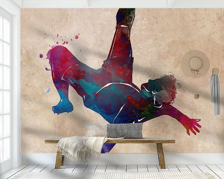 Sfeerimpressie behang: Voetbal speler sport kunst #football #soccer van JBJart Justyna Jaszke