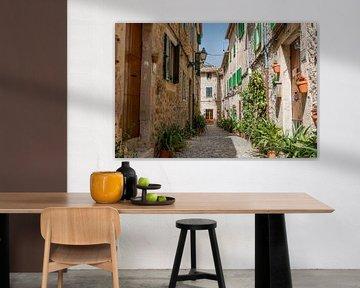 Straat met bloemen en platen op Mallorca