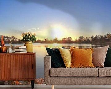 Panorama van een zonsondergang aan een meer van MPfoto71