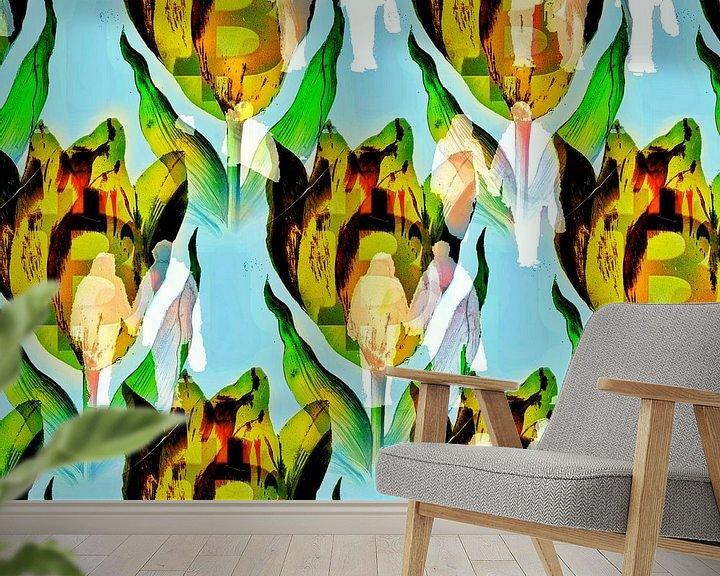 Sfeerimpressie behang: Bitcoin mania (crypto tulp met mensenmassa) van Ruben van Gogh