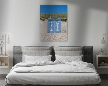 Porträt eines blauen Strandhauses