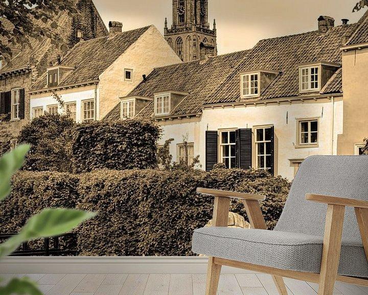 Sfeerimpressie behang: Amersfoort Utrecht Nederland Sepia van Hendrik-Jan Kornelis