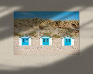 Strandhuisjes op het eiland Texel.