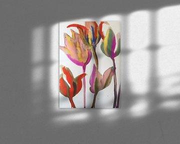Tulpen Multicolor von Helia Tayebi Art