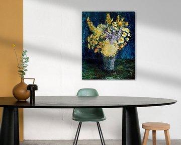 Schilderij met stilleven van bloemen van W J Kok