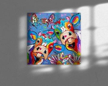 Duo mit Schmetterlingen und Blumen von Vrolijk Schilderij