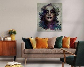 Face Paint - A portrait of a Woman van Rudy en Gisela Schlechter