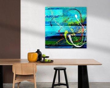 Modernes, abstraktes digitales Kunstwerk in Blau-Grün von Art By Dominic