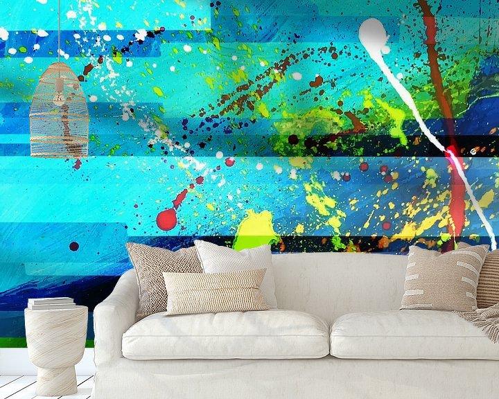 Sfeerimpressie behang: Modern, Abstract Digitaal Kunstwerk in Blauw Groen van Art By Dominic