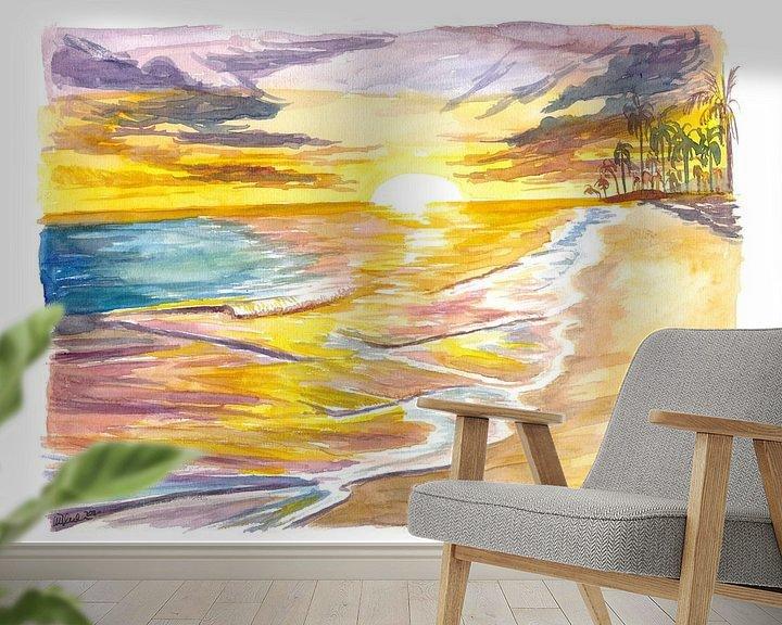 Beispiel fototapete: Romantische Insel Sonnenuntergang mit Wellen Palmen Strand von Markus Bleichner