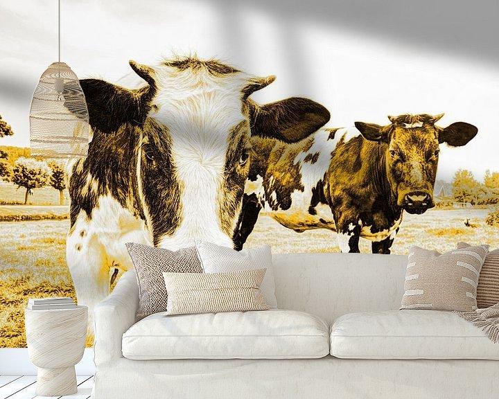 Sfeerimpressie behang: Koeien in Weiland Goud van Hendrik-Jan Kornelis