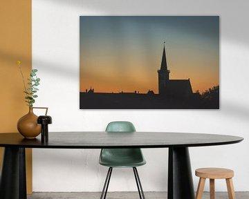 Kerk van Den Hoorn, Texel, bij zonsondergang