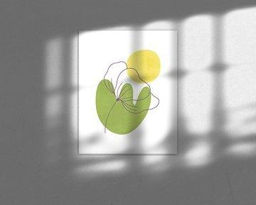 Minimalistische Landschaft mit einer Blume und einer Sonne von Tanja Udelhofen