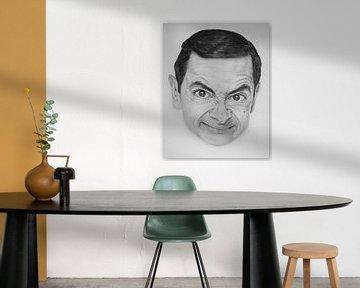 Mr. Bean in houtskool | zwart wit portret kunst van Milau Lesmana
