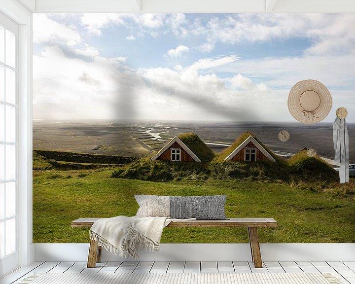 Beispiel fototapete: Typische IJslandse huizen von Louise Poortvliet