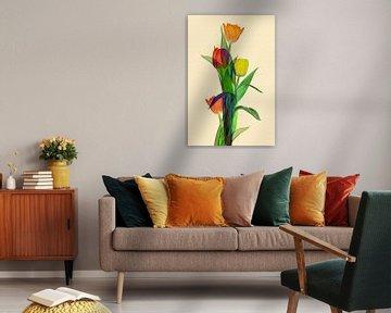 Tulpen Fantasie mit vielen Farben II von Klaartje Majoor
