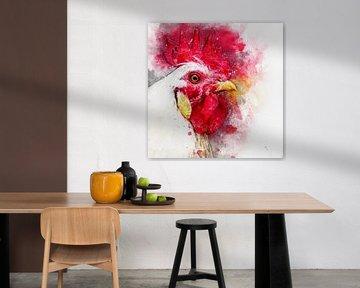 Portret van een haan (waterverf, rood en wit) van Art by Jeronimo