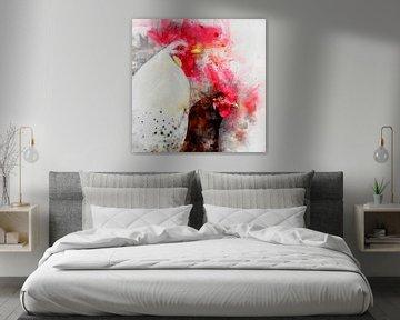 Portret van 2 hanen (waterverf) van Art by Jeronimo