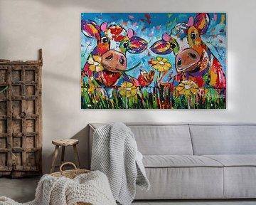 Duo zwischen den Blumen von Vrolijk Schilderij