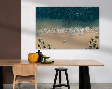 Vue aérienne de la plage avec des palmiers et une chaise longue avec parasol. sur Besa Art