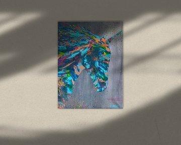 Indy unicorn spirit schilderij van Kim van Beveren