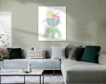 Minimalistisches Design mit einer Blattpflanze in Pastellfarben von Tanja Udelhofen