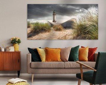 Phare sur la plage de Warnemünde sur Voss Fine Art Fotografie