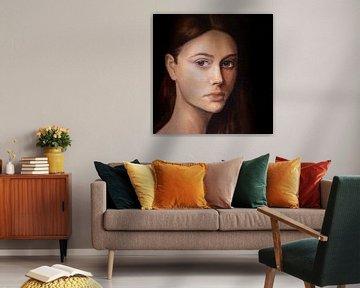 Portret van een vrouw | Portret kunst van Milau Lesmana
